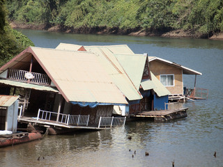 building houseboat on the lake in Thailand