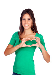 Young casual woman making a heart with her hands