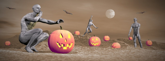 Halloween scene - 3D render