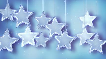 blue hanging stars christmas lights loop