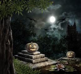 Halloween pumpkins in yard of old house night in bright moonligh
