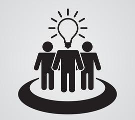 person teamwork with lightbulb head