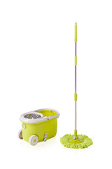 Green cleaning mop and bucket