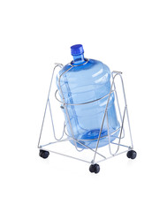 Empty water bottle on steel stand with wheels