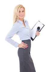 young female reporter with microphone and clipboard isolated on