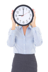 business woman with office clock covering face isolated on white