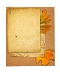 Set of old archival papers and vintage postcard with autumn foli