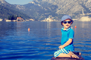little boy on sea vacation