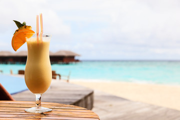 pina colada on tropical beach