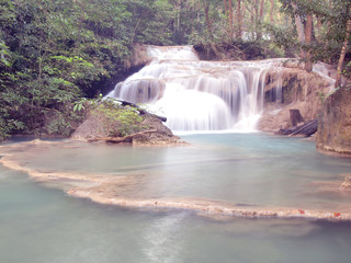 Waterfall with water flowing around