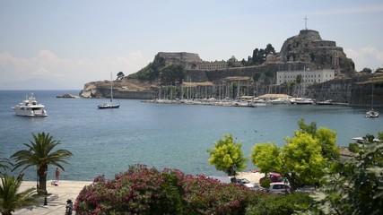 Harbor view in Corfu Island, Greece