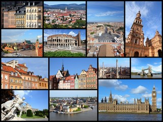 Europe cities - travel photo collage