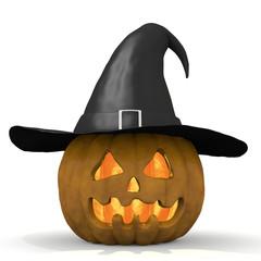 zucca di halloween con cappello