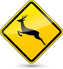 Vector deer yellow sign