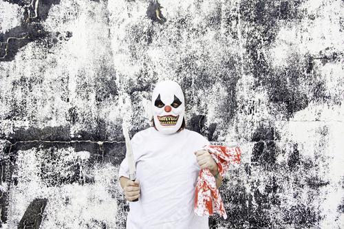 Staande foto Imagination Clown with blood knife