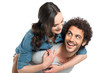 canvas print picture - Man Piggybacking Her Girlfriend