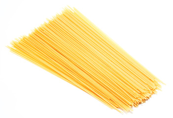 Uncooked Italian spaghetti isolated on a white
