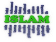 Постер, плакат: 3d image Islam concept word cloud background