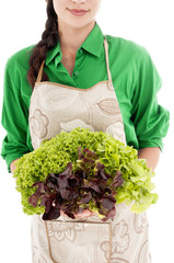 Woman with lettuce over white background.