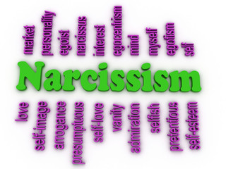 3d image Narcissism concept word cloud background