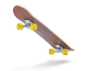 Skateboard deck on white background.