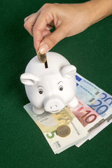 Euros and a piggy bank money box