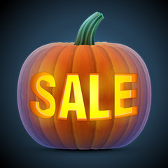 Halloween pumpkin with carving. Jack-o-lantern with word SALE