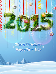 New Year 2015 of twigs like christmas decoration, winter scene