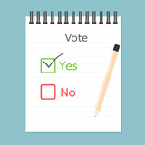 Referendum clipboard, Vote Yes and No poster