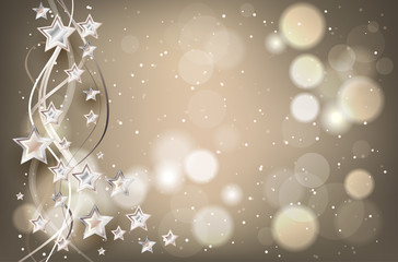 Christmas background with lights and stars