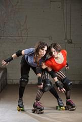 Female Roller Derby Skaters Posing