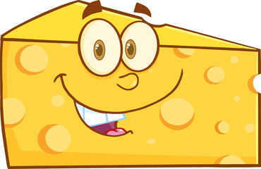Smiling Cheese Wedge Cartoon Mascot Character