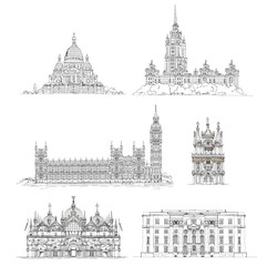 Famous buildings, sketch collection.