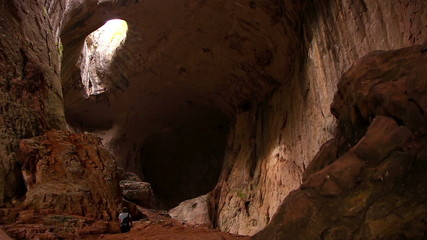 Prohodna cave in Bulgaria with two eye, known as the Eyes of God
