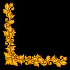 Baroque ornamental antique gold element on black background.