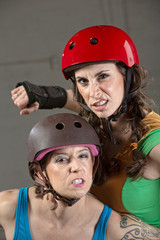 Threatening Roller Derby Skaters