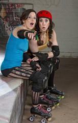Female Roller Derby Skaters