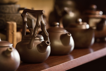 Clay Chinese teapots.