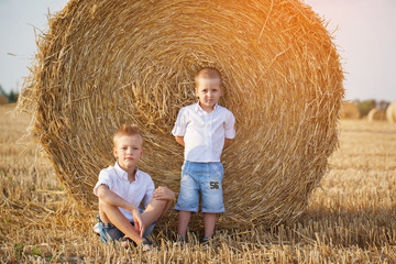 Two little brothers sitting near a haystack in wheat field on wa
