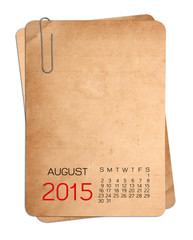 2015 Calendar on the Empty old photo with Paper clip