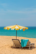 Leinwanddruck Bild - umbrella on a tropical beach