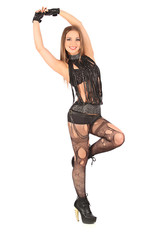 Sexy young woman go-go dancer with long legs