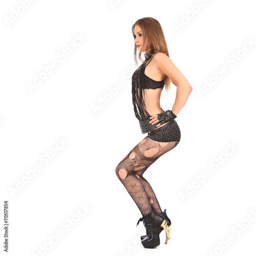 Poster Sexy young woman go-go dancer with long legs