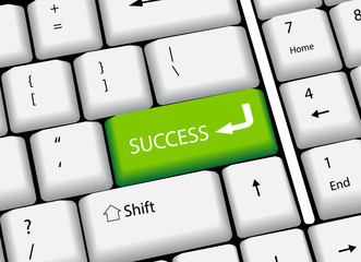 computer keyboard with word Success, vector illustration
