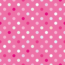 Vector background with polka dots on baby pink background
