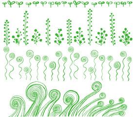 エコなライン 渦巻き植物 手描きイラスト