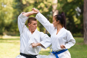 Two martial arts fighters practicing in nature.