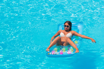 Relaxing in a swimming pool
