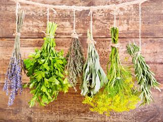 various fresh herbs hanging