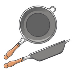Frying pans (side and top view) isolated on a white background